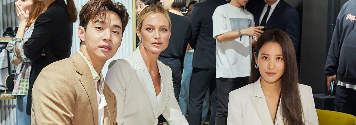 Henry Lau, Carolyn Murphy and Claudia Kim at Max Mara Seoul